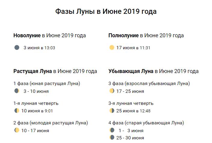 лунный календарь на июнь 2019 года