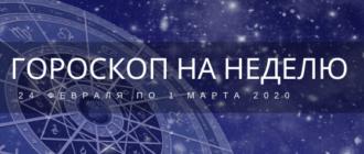 Гороскоп на неделю с 24 февраля по 1 марта 2020