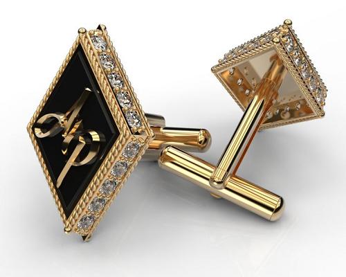 Запонки с ониксом и бриллиантами