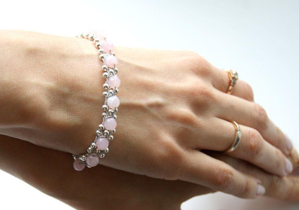 браслет из серебра с розовым кварцем